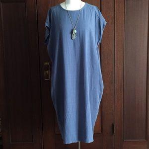 Linen rayon periwinkle shift dress w pockets
